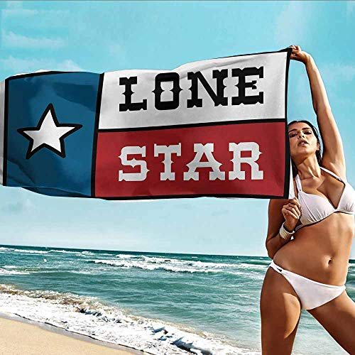 Antonia Reed Custom Bath Towel Texas Star,Lone Star Flag United States of America Themed Patriotic Design,Cobalt Blue Ruby White,Multipurpose for Bathroom,Hotel,Gym and Spa20 x39 inch