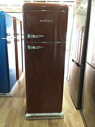 Retro Kühlschrank Mocca Glanz / A+ / Kühl- Gefrierkombi / SL 208 / Five5Cents / Rippenlos / Außenhülle ist aus Metall /
