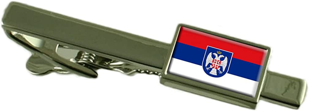 Keepsake Engraved Personalized Case Republika Srpska Flag Tie Clip Bar 55mm