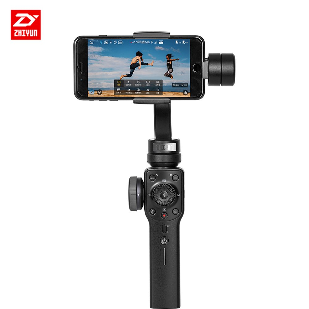 Zhiyun Smooth 4 3 Axis Portable Stabilizer compatible con SmartPhone IPhone, Samsung. Huawei .GoPro Hero 6/5/4/3, soporte má ximo 200 g, 6 pulgadas soporte máximo 200 g