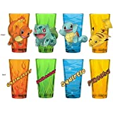 4-Pack GIFT SET 16oz Official Pokemon Multi-colored PREMIUM Pint Glass Novelty GIFT SET with CHARMANDER, BULBASAUR, SQUIRTLE and PIKACHU characters printed