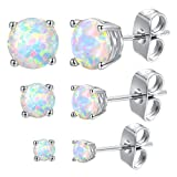 GEMSME 18K White Gold Plated 3/5/7mm Round Opal Stud Earrings Pack of 3