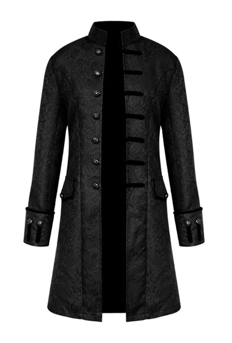 Nobility Baby Mens Medieval Steampunk Stand Collar Coat (XL, Black)