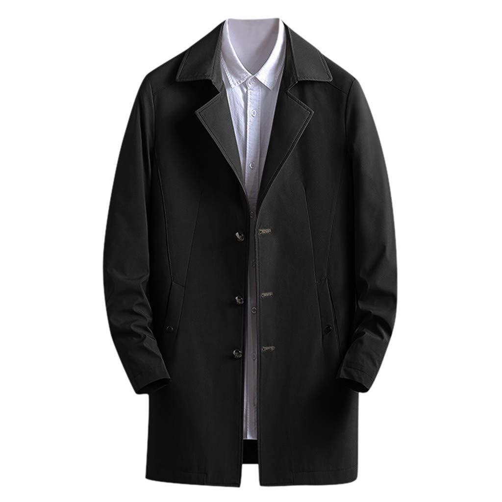 F_Gotal Mens blazer Men's Trench Coat Winter Long Jacket Button Closer Overcoat Black by F_Gotal Mens blazer