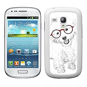 Funda carcasa para Samsung Galaxy S3 Mini diseño perro blanco con gafas rojas borde blanco