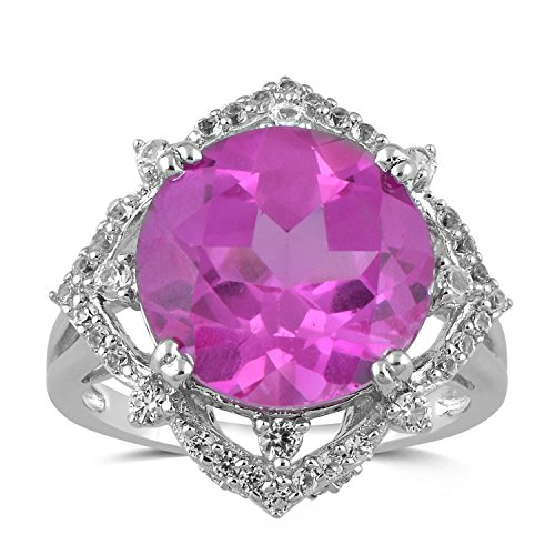 (Jewelili Sterling Silver 13mm Round Created Pink Sapphire and Round Created White Sapphire Halo Cushion Ring, Size 7)