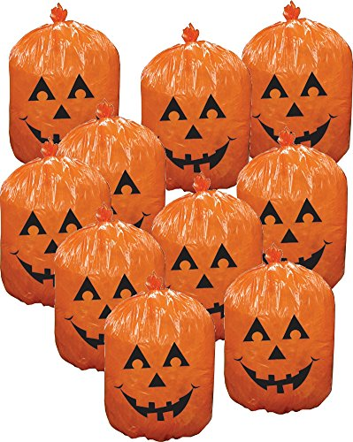 Forum Novelties 76200 10 Plastic Halloween Jack-o-Lantern Pumpkin Leaf Bags Yard Decoration o