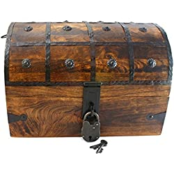 "Well Pack Box Wooden Pirate Treasure Chest Box 15"" x 10"" x 10"" Black Bart Model Authentic Antique Style With Black Hasp Latch Includes Master Lock & Vintage Skeleton Keys"