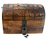 Well Pack Box Black Bart Authentic Antique Style Wooden Pirate Treasure Chest Box With Black Hasp Latch Includes Master Padlock & Vintage Skeleton Keys
