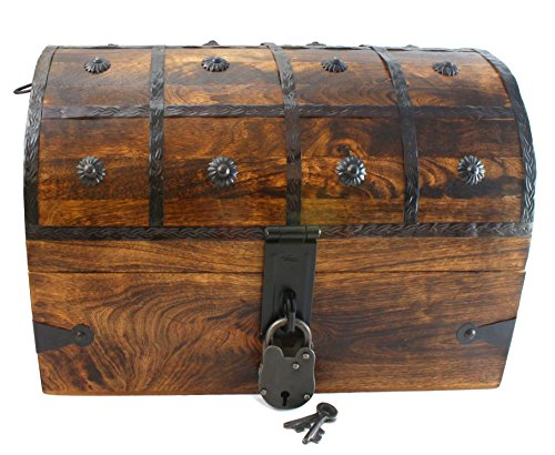 """Well Pack Box Wooden Pirate Treasure Chest Box 15"""" x 10"""" x 10"""" Black Bart Model Authentic Antique Style With Black Hasp Latch Includes Master Lock & Vintage Skeleton Keys"""