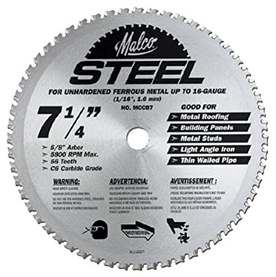 Malco MCCB7 7 1/4-Inch 56 Tooth Metal Cutting Saw Blade for Standing Seam Roof Panels by Malco