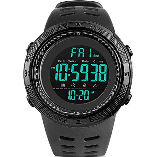 YEENIK Men's Digital Watch, Led Military 50M Waterproof Sports Watches for Men, Electronic Hand Wrist Watch with Alarm Stopwatch Dual Time Zone Count Down EL Backlight Calendar Date for Men - Black ()