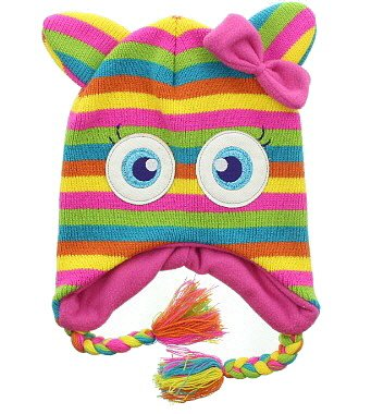 Milani Unisex Super Cute Animal Face Knit Winter Earflap Tassel Cap Hat - Candy