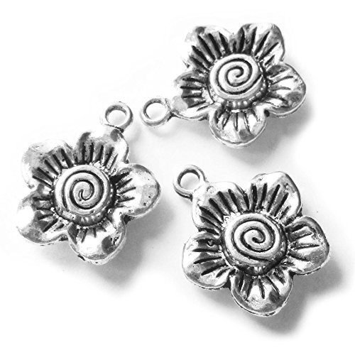 - Heather's cf 38 Pieces Silver Tone Sun Flower Beads DIY Charms Pendants 17X14mm