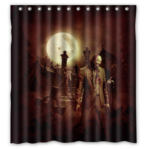 Beautiful Funny Zombie Cat/Zombie Santa Claus/How to Kill A Zombie? Shower Curtain 66(w)x72(h)Inch Waterproof Curtain