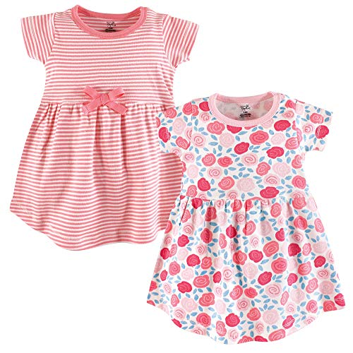 (Touched by Nature Baby Girls Organic Cotton Dress, 2 Pack, Rosebud Short Sleeve, 5 Toddler)