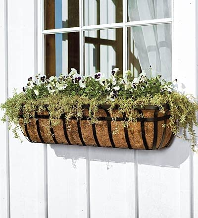 36 L English Hay Basket Window Planter with Coco Liner and Adjustable Brackets