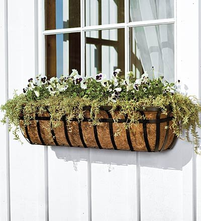 English Hay Basket Planters with Adjustable Brackets and Coco Liners
