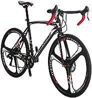 Eurobike Road Bike HYXC550 700C 3 Spoke Wheels 21 Speed 54cm Steel Frame Road Bike Disc Brake Bicycle