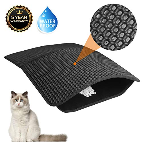 Akarden Cat Litter Mat, Waterproof Urine Proof Cat Litter Trapping Mats(25.5''X17.7''), Double-Layer Design, Easy to Clean, Scatter Control(Black)