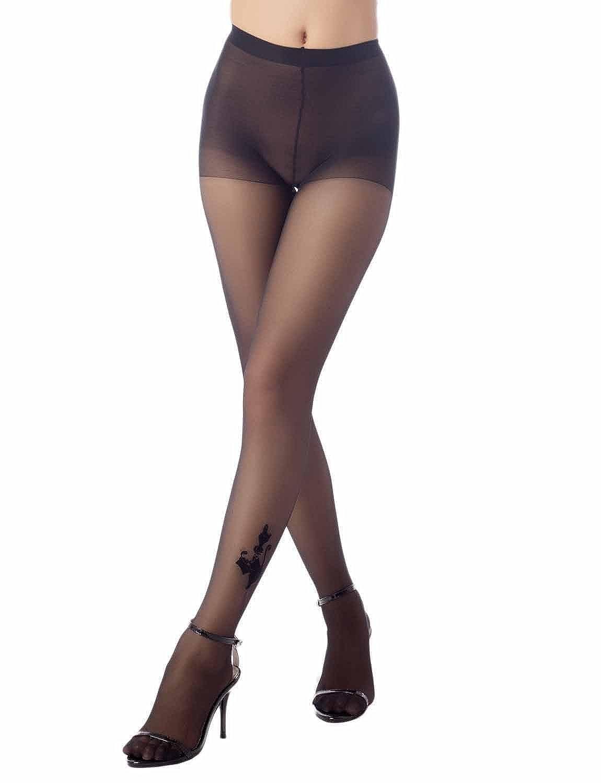 iB-iP Donna tatuaggi caviglia stampa senza giunte del gatto elegante Mid Vita Collant Trasparenti