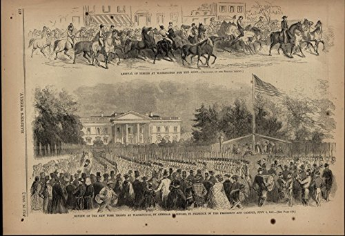 Army Horses NY Troops Review Abraham Lincoln 1861 great old print for display