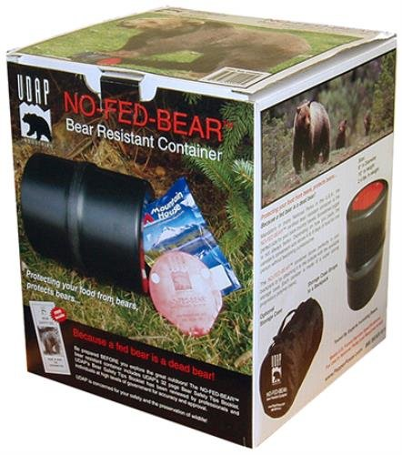 NO-FED-BEAR Bear Resistant Canister by UDAP 1 220336 Features: Constructed with a tough, bear-proof polymer blend Use a coin to open the canister's metal fastener Plenty of room with 8 inches in diamet