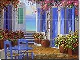 """Essence of Greece"" by Mikki Senkarik - Artwork On Tile Ceramic Mural 18"" x 24"" Kitchen Shower Backsplash"