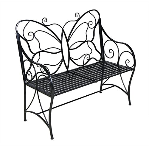 BestValue Go Outdoor Garden Metal Leisure Butterfly Bench Black by BestValue Go
