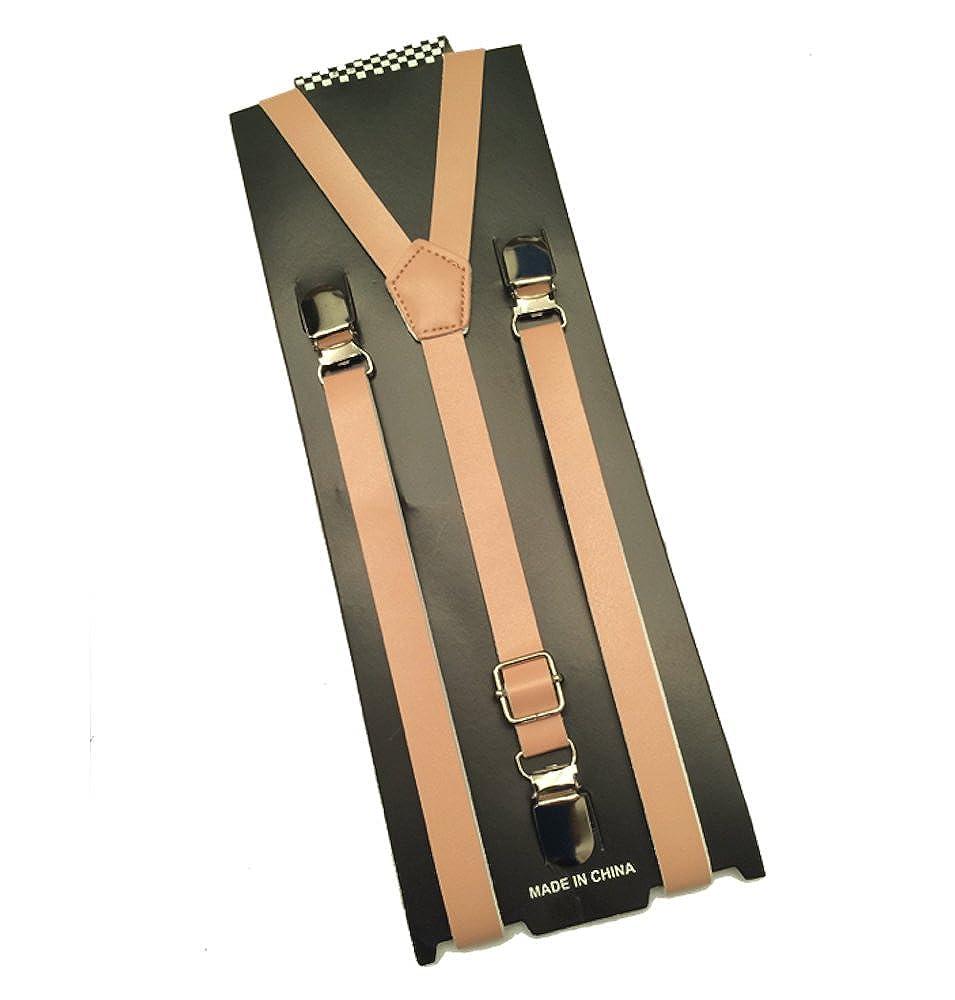 Leather Vintage Brown Suspenders Mens