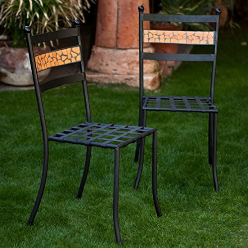 Coral Coast Terra Cotta Mosaic Bistro Chairs - Set of 2