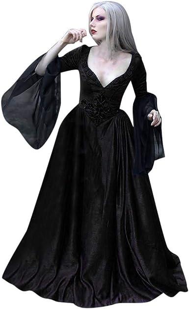 Fossenfeliz Disfraz Halloween Mujer, Disfraces Medievales Mujer de Bruja Vestidos de Fiesta Largos de Noche con Volantes Vintage