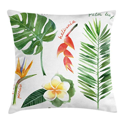 - Ambesonne Plant Throw Pillow Cushion Cover, Bird of Paradise Palm Leaf and Assorted Exotic Flowers Watercolor, Decorative Square Accent Pillow Case, 20
