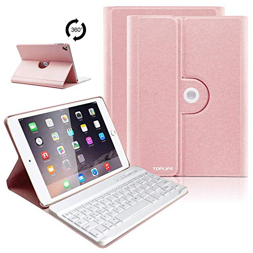 TOPLIFE iPad Keyboard Case 9.7 iPad air 2 Case with Keyboard,Ultra Lightweight iPad Cases for New 2018 ipad 6th Generation Cases with Keyboard,Detachable Wireless Keyboard (Champagne)]()