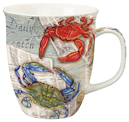 Coastal Blue Crab Feast Red Crab Fiesta Coffee Latte Tea Harbor Mug by Cape Shore - Crab Mug