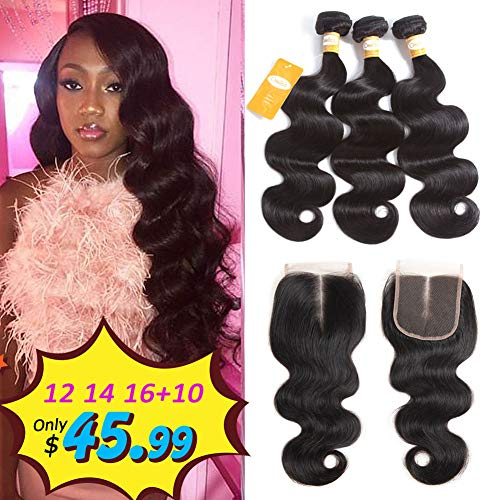 Ossilee Body Wave Bundles with Closure Brazilian Human Hair Bundles with Lace Closure 4X4 Middle Part Closure with Body Wave Virgin Hair Bundles (12 14 16+10, Middle Part)