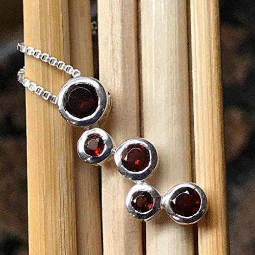 Garnet Journey Pendant - Natural 2.5ct Red Garnet 925 Solid Sterling Silver Journey Necklace 20'' long