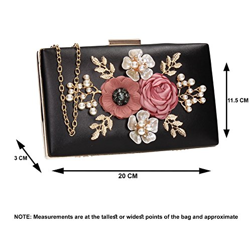Wedding Floral Bag Faux Womens 3d Black Prom Valery Clutch Box Party Leather SWANKYSWANS Ladies TR06nq