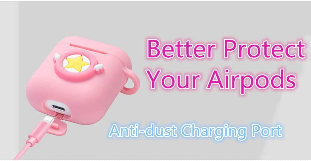 Air pods Logee Pink Melody Case for Airpods 1/& 2 Charging Case,Cute Silicone 3D Cartoon Airpod Cover,Soft Protective Accessories Kits Skin with Carabiner,Character Cases for Kids Teens Girls