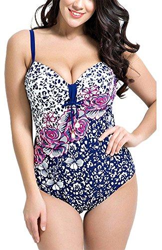 (Unique-Shop Womens Plus Size Ruffled Floral Push up Monokini Low Cut Halter One Piece Swimsuits,XXXX-Large,White)