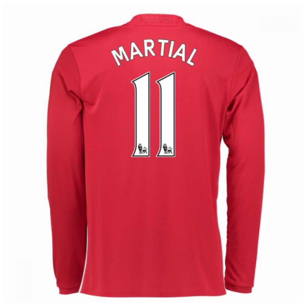2016-17 Man United Home Long Sleeve Football Soccer T-Shirt Trikot (Anthony Martial 11)