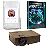 1080 Projector Screen - Kringle Bros AtmosFearFx Phantasms Halloween DVD Projector Kit with 1900 Lumen LED Video Projector, Reaper Brothers High Resolution Window Rear Projection Screen and AtmosFearFX Phantasms DVD