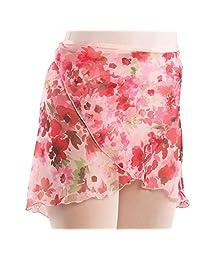 Danshuz Little Girls Pink Floral Print Over-Lapping Style Chiffon Skirt 2-4