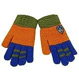 LIULIULIUChildren Winter Colorblock Cartoon Bear Patchwork Keep Warm Mittens Gloves (Orange)