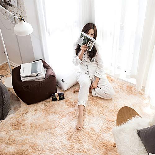 Super Soft Velvet Silk Rugs - Simple Style Modern Shaggy Carpet Fashion Color Bedroom Mat for Girls Home Decor 3.9 x 6.4 Feet Light Khaki