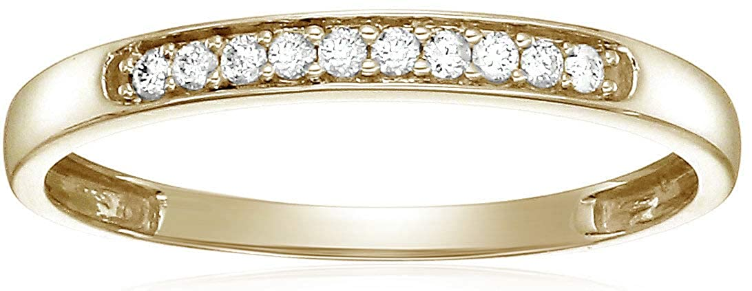 Vir Jewels 1//10 cttw Diamond Wedding Band in 10K White or Yellow Gold Prong Set