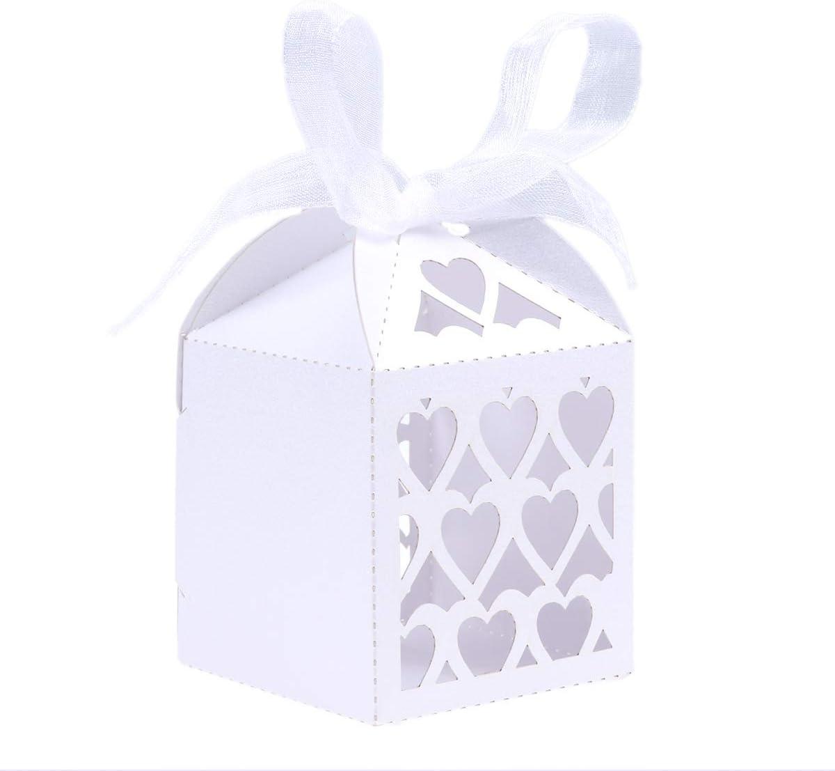 STOBOK–Ideales como Regalo de Boda Cajas Caramelos, con diseño de Corazón para Boda Cumpleaños Bautizo 50Piezas 21,5x 14cm (Violeta)