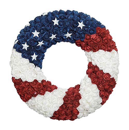 (ranspac Silk Rose Americana Wreath, Patriotic Wreath 21 Inch Diameter, Roses and Stars, Red White and Blue 4th of July)