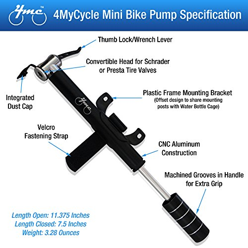 amazoncom mini bike pump from 4mycycle portable lightweight with frame mounting kit deluxe black cnc aluminum alloy high pressure compact mini
