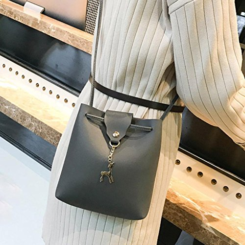 Gray Ladies Womens Shoulder Girls Small Bag Messenger Hasp Bucket Crossbody Bag Purse Deer Dark Bags Leather Bag Fashion xq1wqgIFT